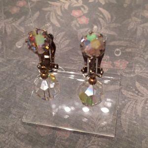 Sparkly single drop vintage earrings
